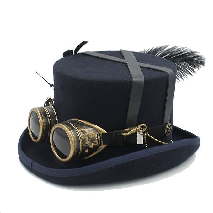 YQXR Moda Sombreros Conjunto de disfraces festivo Sombrero negro para hombre  con gafas Steampunk Sombrero de copa Hombre en llamas Juego de cascanueces  ... 02f0bb55795