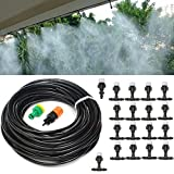 ZivaTech DIY 65FT Misting System Kit for Outdoor Swimming Pool Cooling Garden Greenhouse Irrigation with 20pcs Nozzles for Plant Watering Plastic Mist Nozzle Misting System