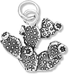 Sterling Silver Charm, 5/8 inch tall, Prickley Pear Cactus, 2.1 grams
