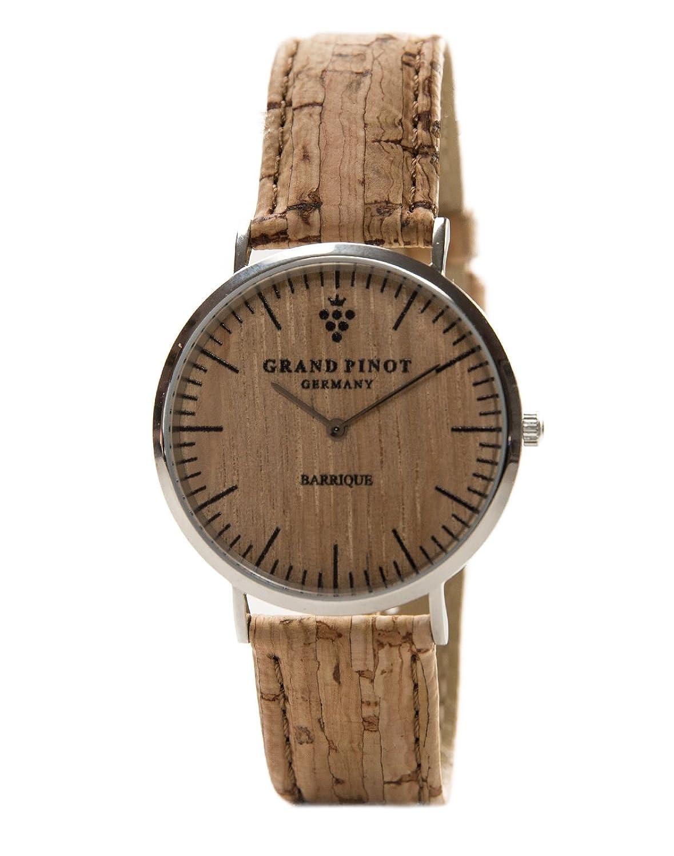 Grand Pinot flache Damen-Armbanduhr CLASSIC (36 mm) Silber-Barriquefass mit Kork--Lederarmband (schlanke Holzuhr