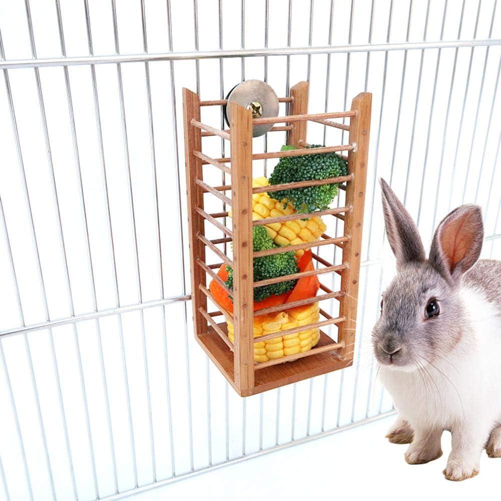Wooden Rabbit Licorice Feeder Rabbit Grass Frame Pet Rabbit Hay Manger 6.5/×6.5/×14cm Kitabetty Rabbit Hay Feeder for Rabbit Guinea Pig Chinchilla and Small Animals