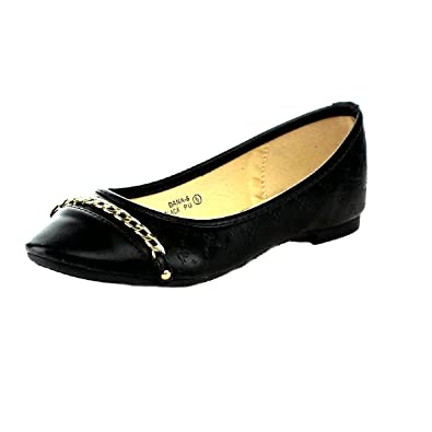 3b770514d048 Bella Marie Dana-8 Women Comfy Chain Pointy Toe Ballet Flat Slip On Shoes  Black