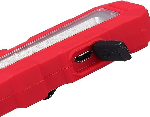 PROZOR Lampada Ispezione Ricaricabile Torcia COB LED Magnetica 5 modalit/à SOS con Gancio Appeso e USB Cavo per Ricarica Luce di Segnalazione Portatile per Emergenza Riparazione Auto Rosso