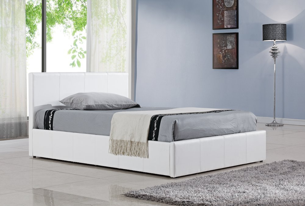 birlea berlin ottoman bed faux leather white double amazoncouk kitchen home - White Leather Bed Frame