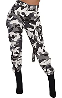 cb7bebb996ca9a Voghtic Women's High Waisted Slim Fit Camoflage Camo Jogger Pants with Belt