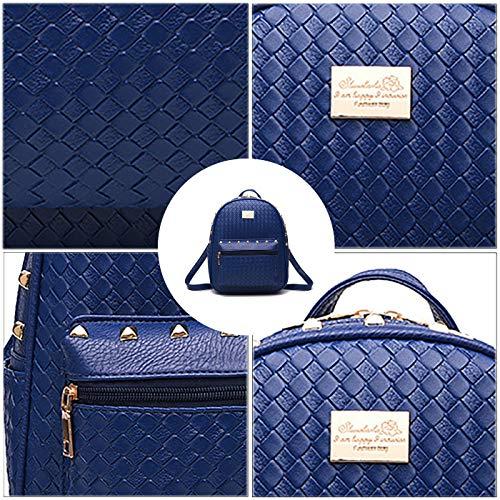 Coolives Femme Dos Rivet à Bleu Tisser Sac Mini YrxZpY1q