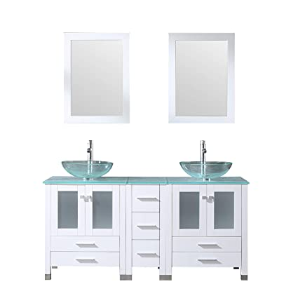 Sliverylake White 60 Inch Bathroom Vanity Above Counter Top Double