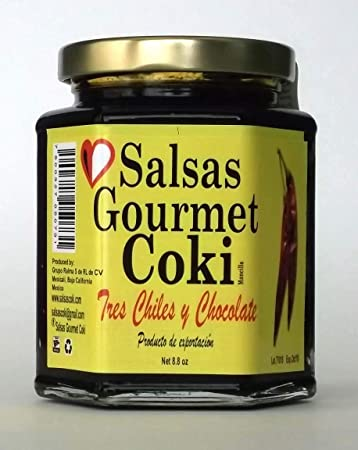 Salsas Gourmet Coki - Three Chile and Chocolate Salsa - Net 8.8 oz