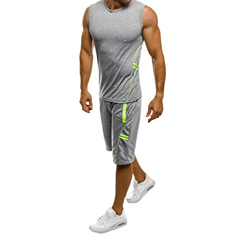 2019 Men s Casual Slim Sleeveless Tank Top T-Shirt Shorts Pants Suit Top  Blouse Valentine s Day Gifts (Grey2
