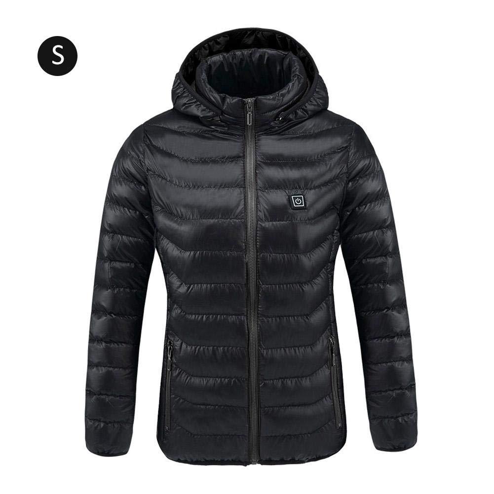 S Black Electric Heated Jacket,USB Rechargeable Winter Heated Vest Warm Coat Graphene Electric Heated Down Jacket for Outdoor Bicycling Skiing Motorcycle Ice Fishing Hiking for Men Women