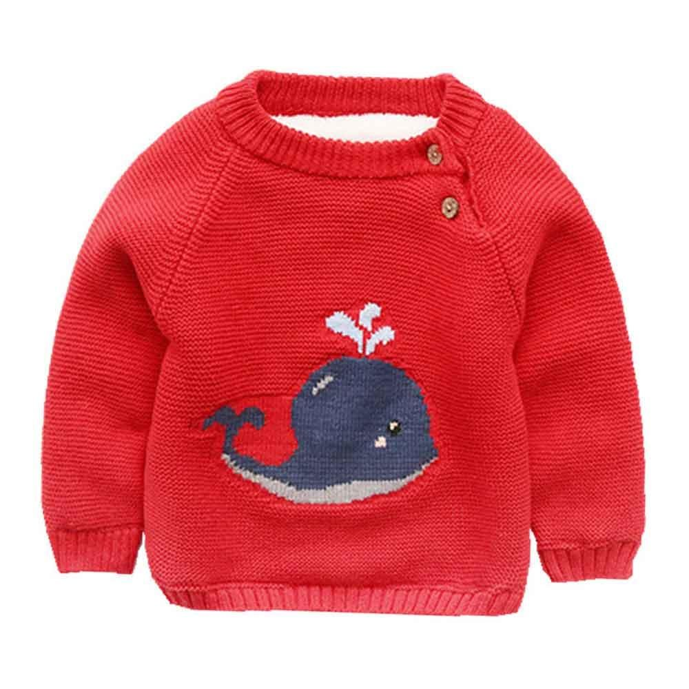 Phorecys Baby Boys'Long Sleeve Round Neck Little Whale Adorable Knitting Thick Sweater LB34-TZMY-JY