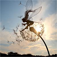 kelebin 2D Garden Fairy Decoration Stake Fairy Playing on/with The Dandelion Metal Art Elf Silhouette Ornament for…