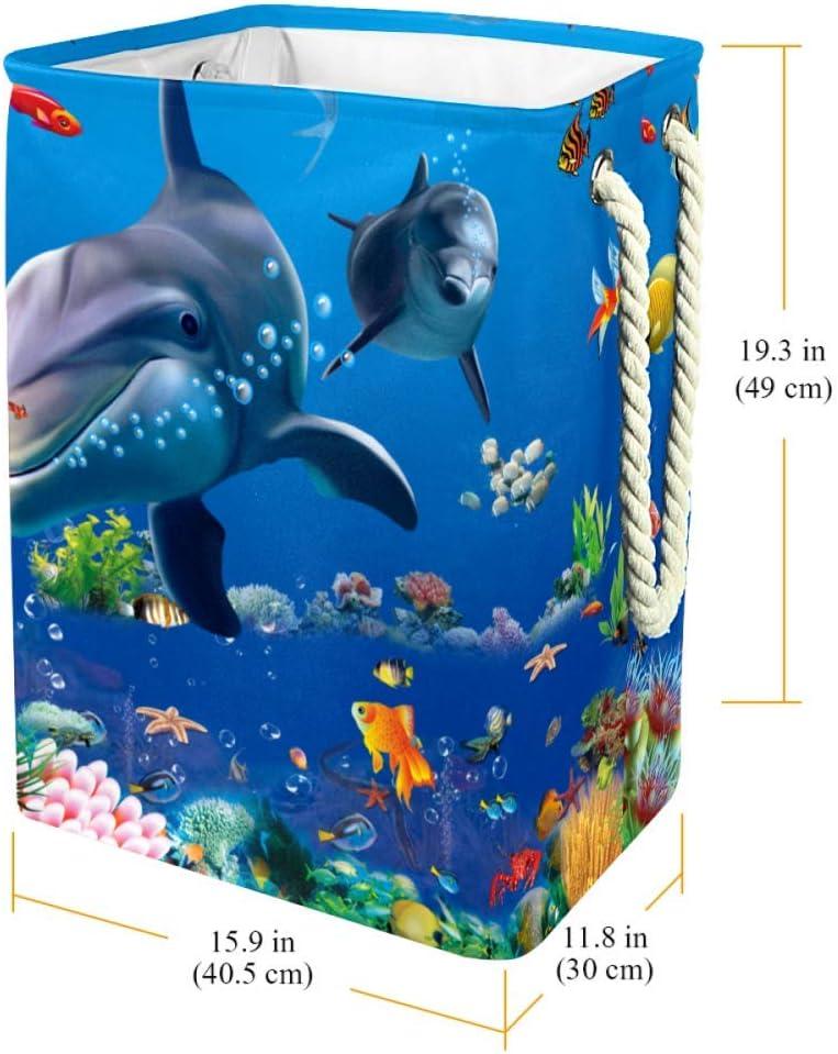 Indimization Sirène et Baleine Sac à Linge Rectangle en Tissu Oxford avec poignées Panier de Rangement Haute capacité 49x30x40.5 cm Color7