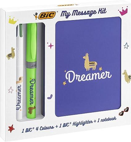 BIC My Message Kit Dreamer - Juego de Escritorio con 1 BIC 4 colores Bolígrafo, 1 BIC Highlighter Grip Bolígrafo (Verde), 1 Libreta Tamaño A6 (Blanca), Pack de 3: Amazon.es: Oficina y papelería