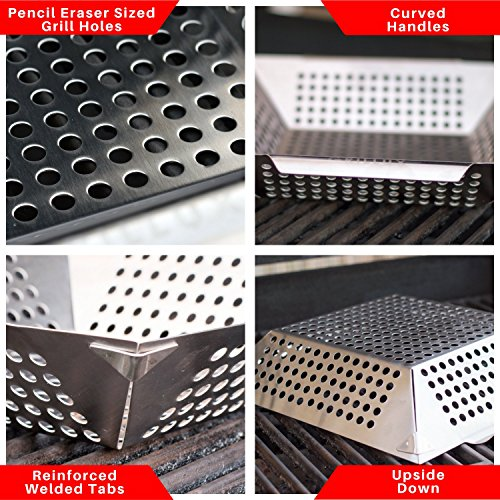 #1 BEST Vegetable Grill Basket - BBQ Accessories for Grilling Veggies, Fish, Meat, Kabob, or Pizza - Use as Wok, Pan, or Smoker - Quality Stainless Steel - Camping Cookware - Charcoal or Gas Grills OK