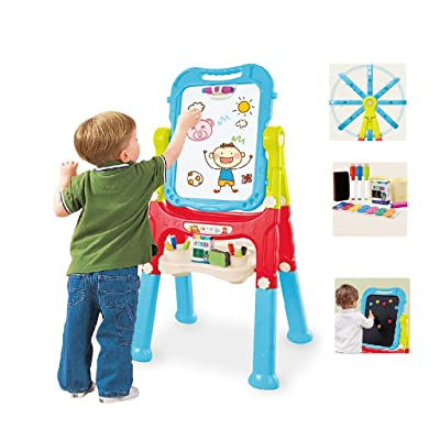 Homefami Kids Art Easel Whiteboard Chalkboard Double Sided Stand Magnetic Children Drawing Board (C): Home & Kitchen