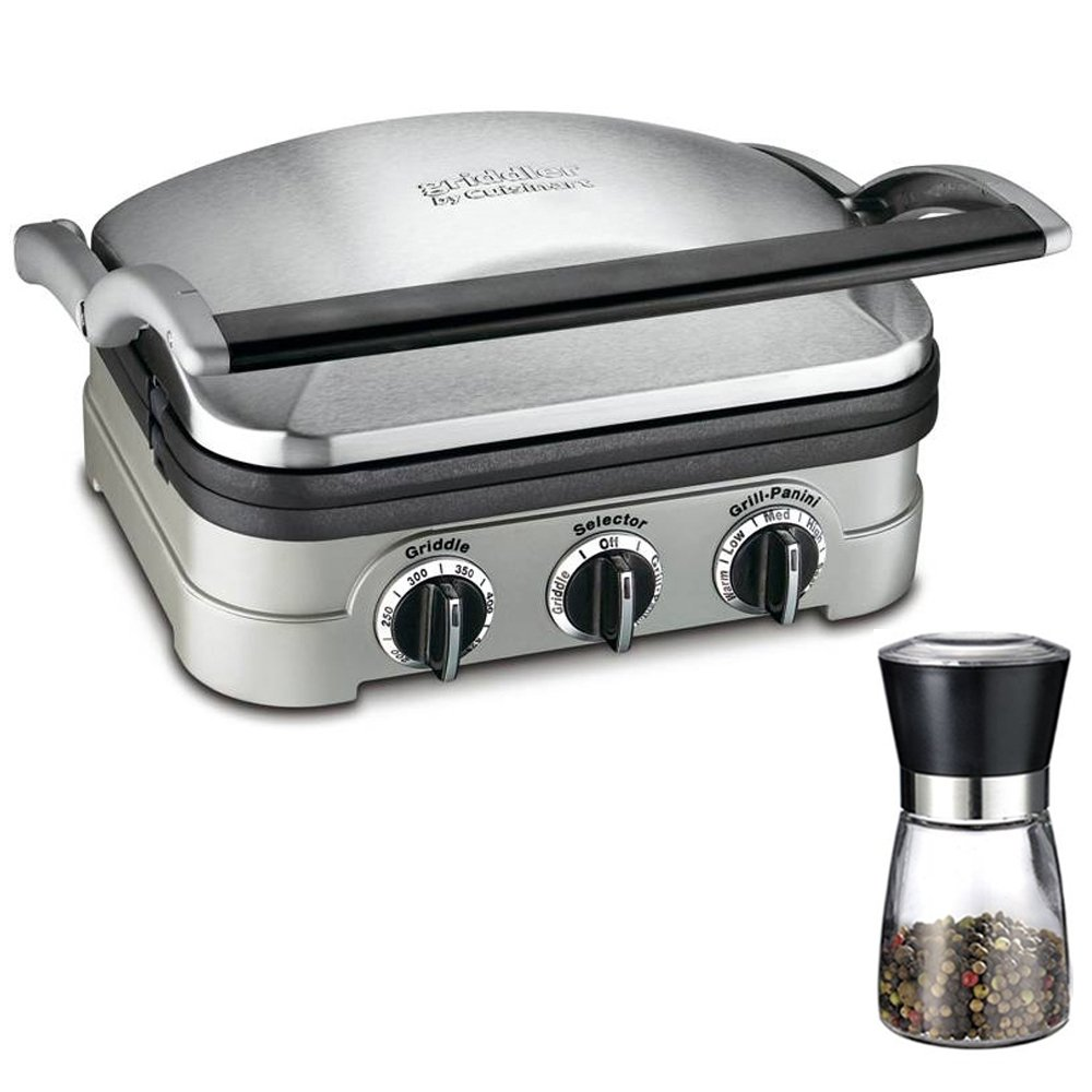 Cuisinart Multifunctional Griddle, Grill and Panini Press (GR-4N) with Deco Gear Spice Mill