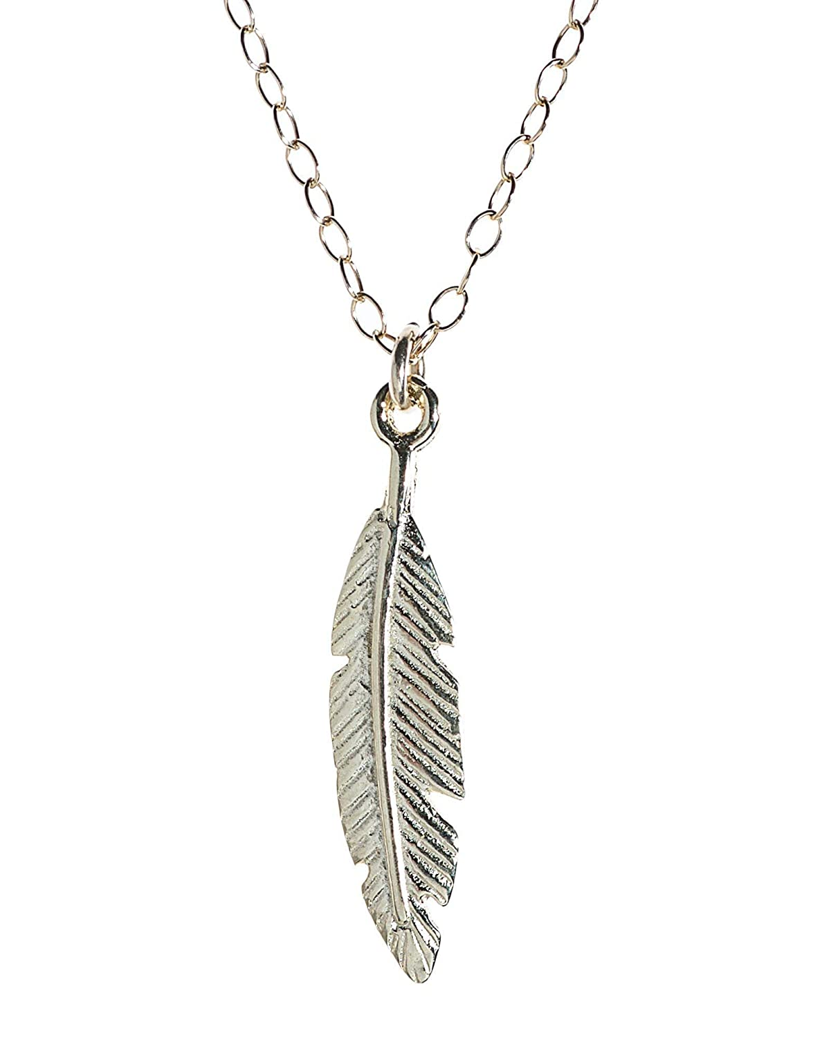 925 Sterling Silver Feather Pendant Necklace Jewellery