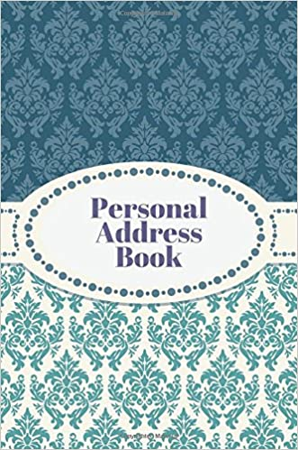 personal address book blue damask design birthdays address book for contacts telephone addresses phone numbers and email alphabetical organizer