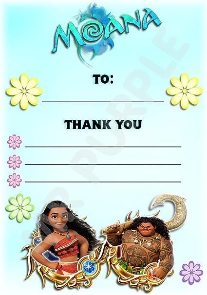 Disney Moana gracias por venir fiesta de cumpleaños tarjetas – Portrait diseño – fiesta suministros/accesorios (Pack de 12 A6 tarjetas de agradecimiento) WITHOUT Envelopes: Amazon.es: Oficina y papelería