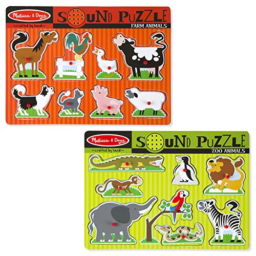 Melissa & Doug Sound Puzzles – Zoo and Farm Animals – 8 Pieces Each