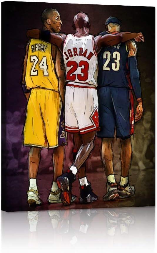 "Yatsen Bridge Legends Lebron James Posters Modern Basketball Canvas Wall Art Michael Jordan & Kobe Bryant Picture Prints Commemorative Gift for Home Decor Framed - 18"" W x 24"" H"