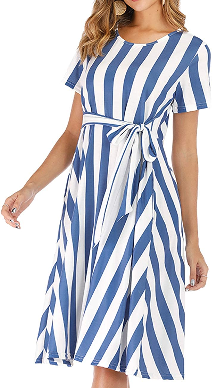 AKEWEI Womens Elegant Dresses with Pockets Chic Fitting Stripe Dress for Party Work Office