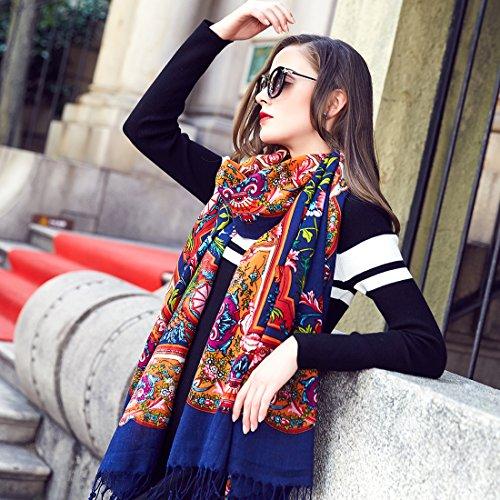 DANA XU 100% Pure Wool Women's Large Traditional Cultural Wear Pashmina Scarf (Navy Blue) by DANA XU (Image #3)