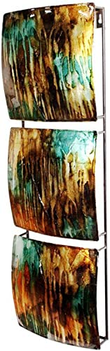 Heather Ann Creations 3 Square Panel Design Modern Decorative Wall Panel Art, 8 x 24.5 x 2.75 , Metal in Copper, Brown and Gold