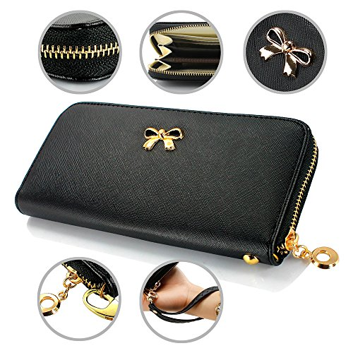GEARONIC TM Women Wallet Long Clutch Faux Leather Card Holder Fashion Purse Lady Woman Handbag Bag (Black Ladies Purse Accessories)