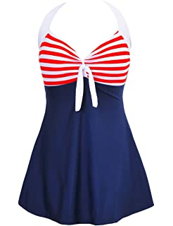 f5a8a44fd5bcf Women Vintage Swimdress Halter Sailor Pin up Swimsuit One Piece Skirtini Bathing  Suits