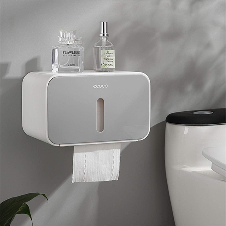 Installations De Bain avec /étanche et Pare-poussi/ère Meiyijia Porte-Papier Toilette Mural,avec Etag/ère de Rangement,Auto-adh/ésif sans per/çage Bleu