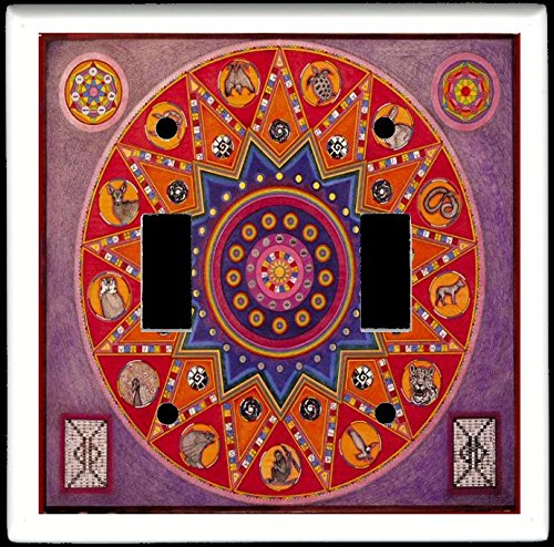 (Double Toggle (2-toggle) Light Switch Plate Cover - Zodiac Astrology - Mayan Zodiac Totem Animals)