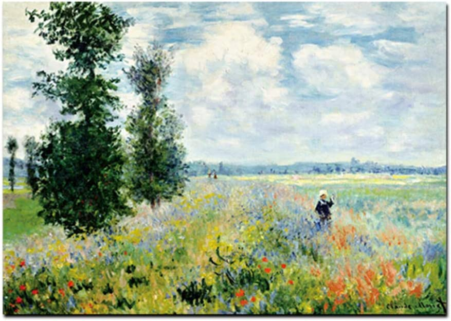 nr Imprimir Claude Monet en Argenteui Paisaje Pintura al óleo sobre Lienzo Arte Imagen de la Pared Impresionista para la Sala Cuadros-50x70cm sin Marco