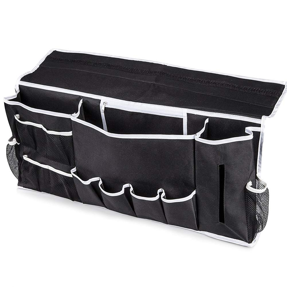BigCic Bedside Storage Organizer, 12 Various Pockets Hanging Storage Bag Caddy Magazine Holders for Bed, Sofa, College Dorm Rooms