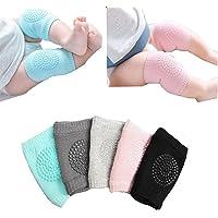 Baby Crawling Anti-Slip Knee pads Unisex Baby Toddlers Kneepads 5 Pairs (Black)