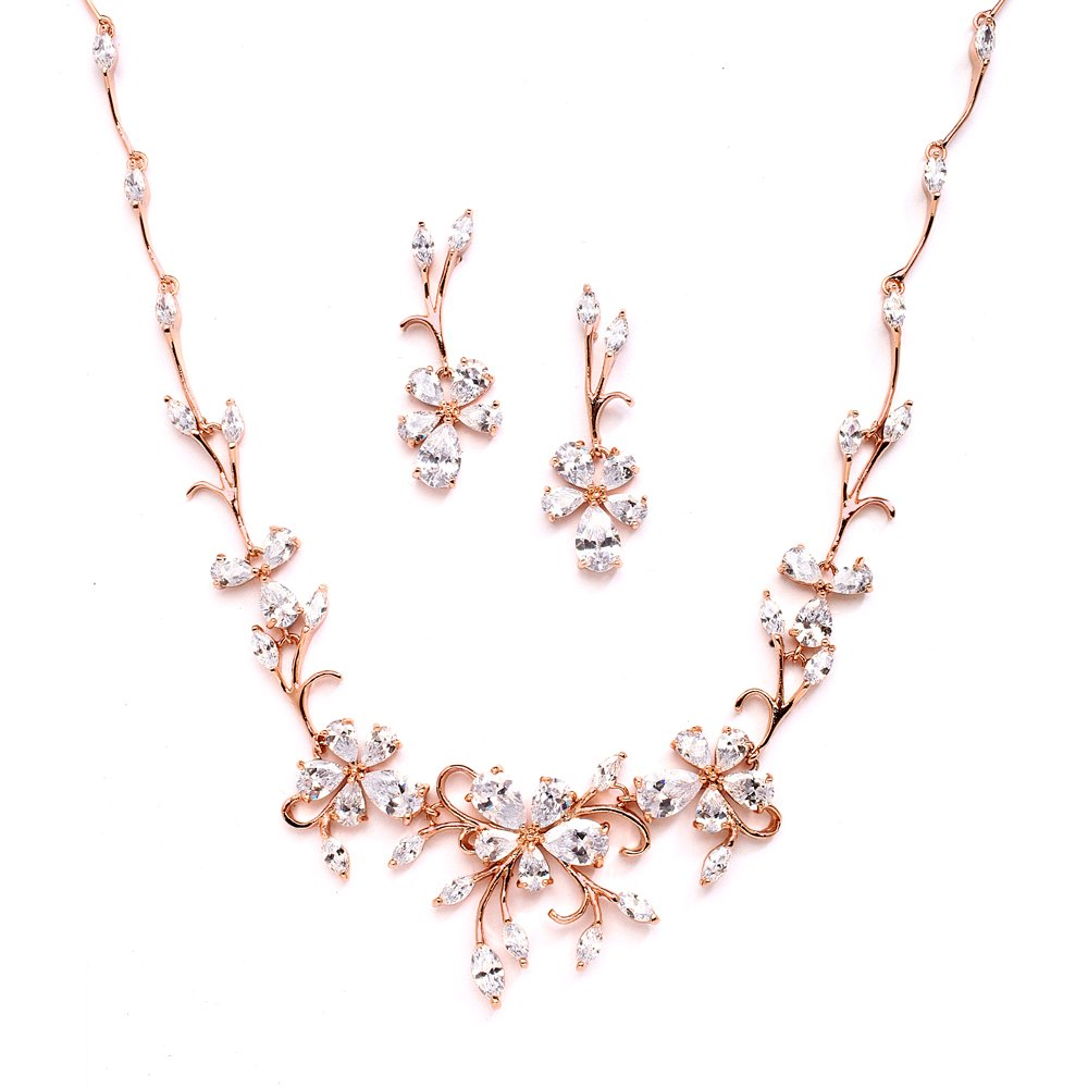 Mariell Elegant Vine Rose Gold Necklace and Earrings Set for Weddings, Brides & Formals