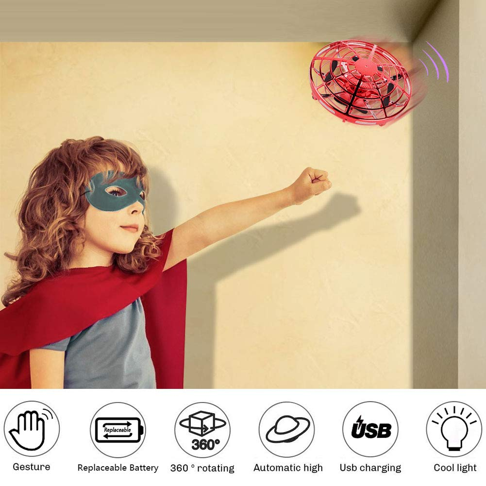 AURISON Flying Ball Drones, Hand-Controlled Drone Quadcopter Flying Toys Interactive Infrared Induction Helicopter Ball with 360°Rotating and Flashing LED Lights for Kids or Adults Gifts(Red) by AURISON (Image #4)
