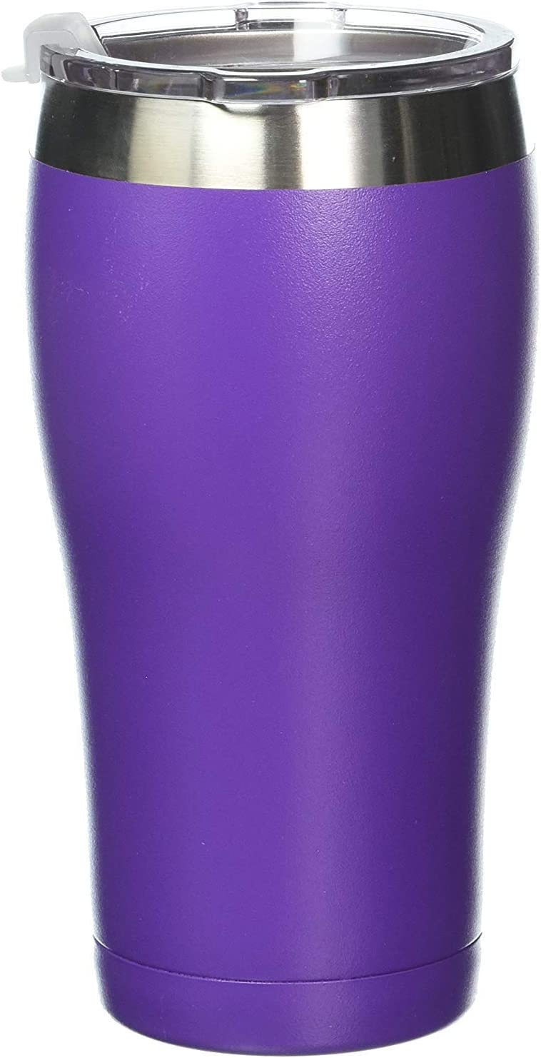 Tahoe Trails 20 oz Tumbler, Stainless Steel, Vacuum Insulated, Double Wall with Lid, Great for Cold or Hot Drinks, Purple