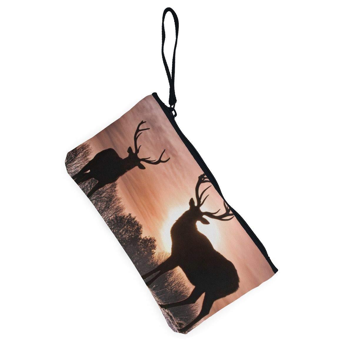 YUANSHAN Sunset Deer Unisex Canvas Coin Purse Change Cash Bag Zipper Small Purse Wallets with Handle
