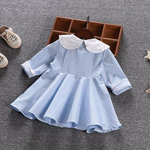 blue XIU Falda Algodón Vestidos Niña Rayada La De RONG Primavera vwarvqz