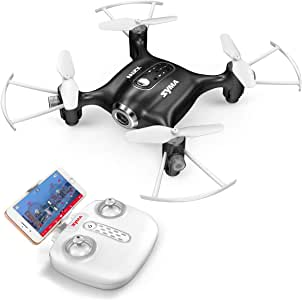 Syma X21W Mini RC Drone with Camera Live Video, 2.4GHz 6-Axis Gyro FPV WiFi App Controlled LED Quadcopter Drone for Kids & Beginners with 3D Flips, Headless Mode, Altitude Hold,Black