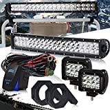DOT 22 Inch 120W Curved LED light bar + 2PCS 4 In 36W