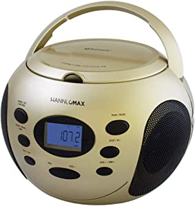 HANNLOMAX HX-305CD Portable CD Boombox, PLL FM Radio, Bluetooth, LCD Dislay with Backlight, Aux-in, AC/DC Dual Power Source (Champagne Gold)