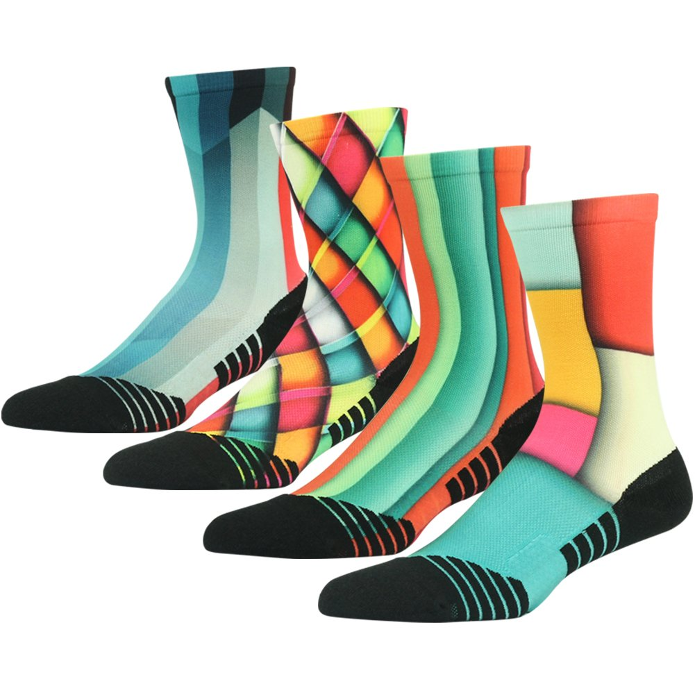 HUSO Camping Hiking Sports Socks Unisex Stylish Print No-skid Wicking Outdoors Mid Calf Socks 4 Pairs (Multicolor, L/XL) by HUSO