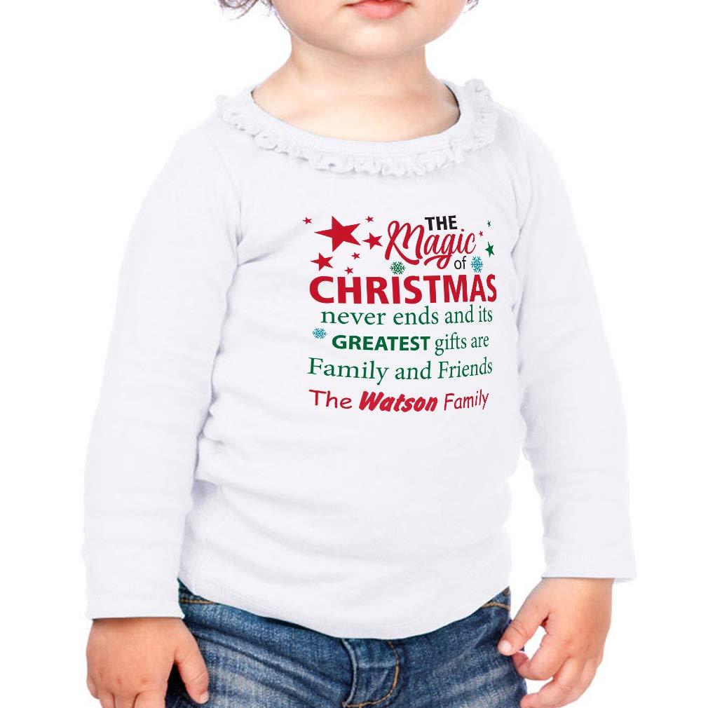 Custom of Christmas Never Ends Cotton Toddler Long Sleeve Ruffle Shirt Top