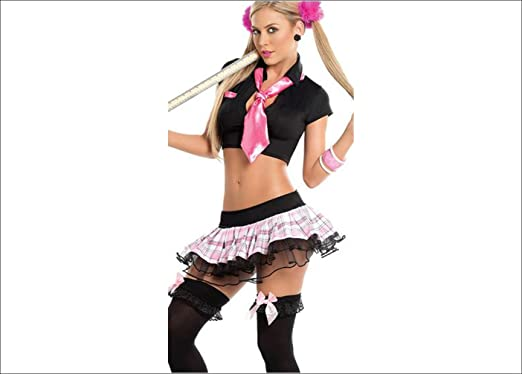 a8ac2497cd8 NEW WOMENS LADIES NAUGHTY SCHOOL GIRL HEN DOO FANCY DRESS PARTY OUTFIT  LINGERIE ONE SIZE 8 - 10 UK  Amazon.co.uk  Clothing