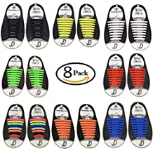 No Tie Shoelaces for Kids and Adults,No Tie Lazy Silicone Shoelace,Elastic Shoelaces for Sneakers,No Tie Shoelaces Hickies White ,Black,Red,Navy,Multicolor for Sneaker Boots (8)