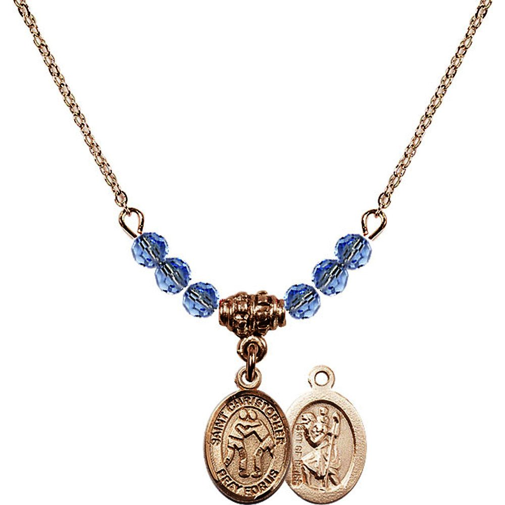 18-Inch Hamilton Gold Plated Necklace w/ 4mm Light Blue September Birth Month Stone Beads & Saint Christopher/Wrestling Charm by Bonyak Jewelry