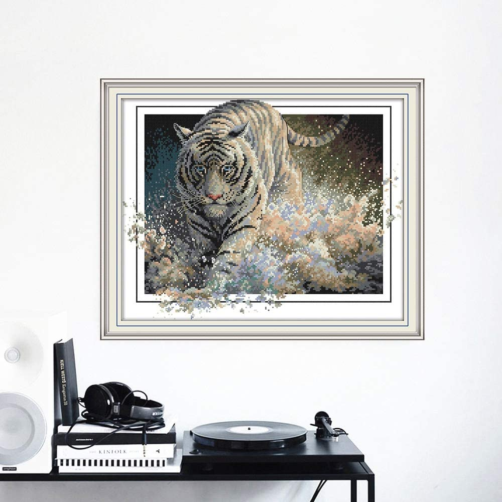 Embroidery Cross Stitch Tiger Animal Needlework Sets for Full Kits White Canvas DIY Home Decor 14CT Cross Stitch Size : 44x36cm14CT